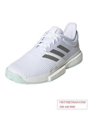 Giầy Tennis Adidas SoleCourt Boost Trắng Xanh